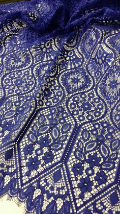 Blue lace fabric by the yard, French Lace, Embroidered lace, Wedding Lace, Bridal lace, Evening dress lace, Lingerie Lace, Alencon Lace