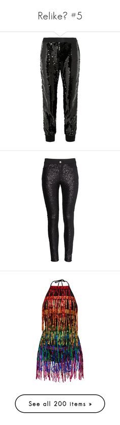 """Relike💕 #5"" by moon-crystal-wolf ❤ liked on Polyvore featuring pants, pants/jeans, trousers, black, sequined pants, sequin embellished pants, pull on trousers, cuffed trousers, elasticated waist trousers and bottoms"
