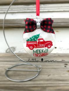 Red Truck with Christmas Tree Ornament  Buffalo Plaid by lilwawa