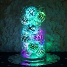 6 Ft 15 Color Changing Battery Operated Disco Mirror Ball LED String Lights - Travel tips - Travel tour - travel ideas Disco Party Decorations, Bridal Decorations, Party Centerpieces, Disco Theme Parties, Cool Party Themes, Bat Mitzvah Centerpieces, Deco Nouvel An, Disco Birthday Party, Kids Disco Party