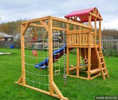 """Children's Playground """"Madrid""""- Детская игровая деревян… - All For Garden Kids Outdoor Playground, Playground Set, Backyard For Kids, Backyard Playset, Outdoor Play Areas, Design Jardin, Kids Play Area, Play Houses, Pergola"""