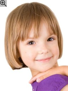 Practical bob with bangs for little girls. The hair was cut to a between earlobe and chin length.