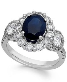 Sapphire (2-1/10 ct. t.w.) and Diamond (1-1/4 ct. t.w.) Oval Ring in 14k White Gold