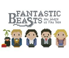 From the amazing spinoff of the Harry Potter saga, Fantastic Beasts and Where to Find Them, a cross stitch pattern that features the Niffler and the Bowtruckles, Newt Scamander, Tina Goldstein, Jacob Kowalski and Queenie Goldstein. rnrn This listing