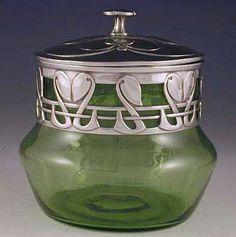 Art Nouveau - Pot avec Couvercle - Argent et Verre - Archibald Knox