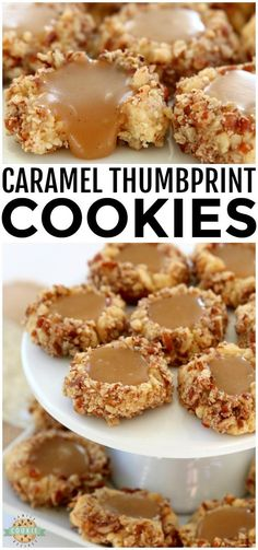 Caramel Thumbprint Cookies are a classic shortbread cookie rolled in pecans, bak. Caramel Thumbprint Cookies are a classic shortbread cookie rolled in pecans, baked & filled with warm caramel. Buttery Christmas cookies that everyone. Thumbprint Cookies Recipe, Shortbread Cookies, Cookies Et Biscuits, Chip Cookies, Buttery Cookies, Caramel Cookies, Holiday Baking, Christmas Baking, Christmas Cookies