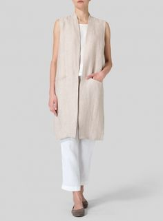 Twill Weave Linen Long Vest-A sophisticated touch to any outfit.