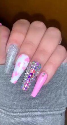 Pink Cow Print Nails 💅🏾🥰