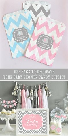 Elephant Baby Shower Favor Bags are the cutest favors and you can fill with your own treats! Our elephant baby shower favor bags can be personalized to