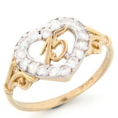 online shopping for Jewelry Liquidation Gold 15 Anos Birthday Quinceanera CZ Heart Ring from top store. See new offer for Jewelry Liquidation Gold 15 Anos Birthday Quinceanera CZ Heart Ring Leaf Engagement Ring, Engagement Ring Settings, Rapunzel, Diamond Cluster Ring, Girls Jewelry, Women Jewelry, Yellow Gold Rings, Unique Rings, Fashion Rings