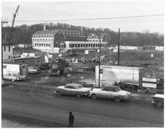James and Parks Hall construction on West Green, March 1962 :: Ohio University Archives