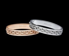 Ralph Lauren Chunky Chain Bangles ~ 18K rose gold single-chain bangle; and an 18K white gold single-chain bangle
