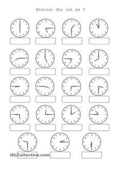 hier jetzt die Arbeitsblätter für die Kinder, die mit der Uhr schon ...