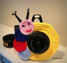 Crochet caterpillar lens critter, camera buddies, camera lens buddy, toys, photographer helper. by NikoBoutique on Etsy