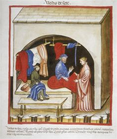 Tacuinum Sanitatis (ÖNB Codex Vindobonensis, series nova 2644), c. 1370-1400: silk clothing (fol. 104v)