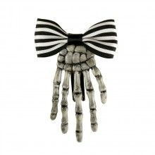 White Skeleton Hand Hair Clip