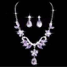 Purple Crystal Rhinestone Flower Drop Pendant Necklace Earring Set – UCHARMME.co.nz