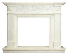 kominek marmurowy klasyczny portal kominkowy Barcelona-biały marmur
