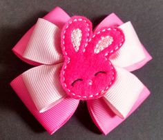 Easter Hairbow Girls Hairbow Bunny Hairbow by GloriaMillerCreation