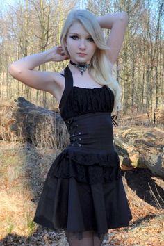 Black Cotton and Lace Bodice Gothic Halter Dress