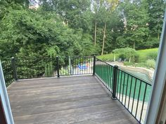 """Looks wonderful! Very happy with quality.""  #fortressbp #railing #decking #deck #metalrailing #metalrails Metal Deck Railing, Deck Railing Systems, Steel Railing, Railing Ideas, Stair Paneling, Stair Brackets, Metal Panels, Backyard, Patio"