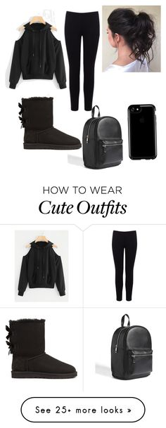 """""""All black cuteness"""" by makennag on Polyvore featuring Warehouse, UGG, Forever 21, Speck and allblackoutfit"""