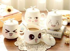 Kawaii Room, Cute Cups, Ceramic Cups, Glass Ceramic, Mug Designs, Decoration, Coffee Cups, Coffee Milk, Milk Cup
