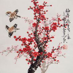 Cherry Blossom paintings Original  chinese  painting oriental art watercolour-Lovely cherry blossom tree No.65 via Etsy