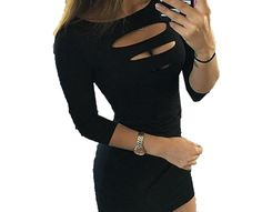 XTX Women's Novelty Bodycon Solid Hole 3/4 Sleeve Cocktail Dress
