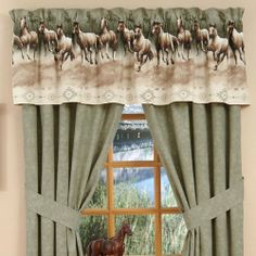 Horse Stampede Curtains - Rod Pocket Drapes by Kimlor. $89.99. 2 Panels. Each Panel is 42 inches wide x 84 inches tall. 3 inch header for total length of 87 inches.. Fabric is heavyweight cotton duck. Drapes are lined.. Made in the USA. Dry Clean Only.. 2 Panels. Each Panel is 42 inches wide x 84 inches tall. 3 inch header for total length of 87 inches. Fabric is heavyweight cotton duck. Drapes are lined. Made in the USA. Dry Clean Only.