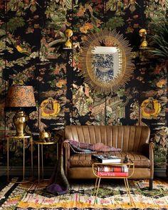 Eclectic Design, Eclectic Decor, Eclectic Living Room, Maximalist Interior, Of Wallpaper, Oriental Wallpaper, Eclectic Wallpaper, Chinoiserie Wallpaper, Beautiful Wallpaper