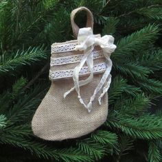 Burlap and Lace Christmas Stocking, Small Christmas Stocking for gift wrap, Christmas decoration