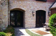 Matching custom wrought iron doors. Wrought Iron Doors, Double Doors, Patio, Outdoor Decor, Home Decor, Decoration Home, Wrought Iron Gates, Room Decor, Home Interior Design