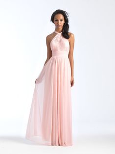 e5dc522960 Allure Bridesmaids 1565 This chiffon gown is ruched along the bodice and  waistband