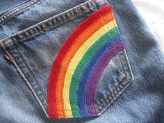 Hippie rainbow jeans/upcycled Levi's 501 jeans/waist by BohoRain