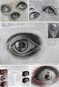 How to draw realistic eyes within a high school Art project Eyes by Elena Tomas Bort, completed as part of Unit Edexcel A Level Art at the Laude British School of Vila-real, Spain. Realistic Eye Drawing, Drawing Eyes, Life Drawing, How To Draw Realistic, Drawing Lessons, Drawing Art, High School Art Projects, Art School, Kunst Portfolio