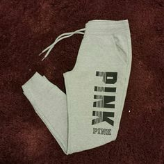 VS Pink Sweatpants Super cute and comfy. Never been worn. NWOT. PINK Victoria's Secret Pants Track Pants & Joggers