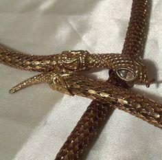 Gold Snake Belt, Vintage 1970s, Fashion woman's belt.