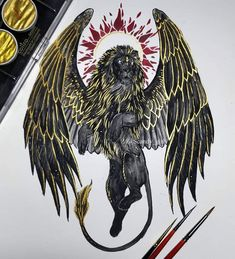 Winged lion 🦁 Ah only 5 More to go and i'll be finally done! 🥺 By the way‼️If you wish to have your order shipped this Wednesday,… Fantasy Animal, Fantasy Art, Tattoo Drawings, Art Drawings, Nordic Tattoo, Desenho Tattoo, Creature Concept, Lion Tattoo, Ink Art
