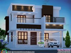 3 bedroom 1600 square feet modern flat roof home plan by Dream Form from Kerala. Modern Exterior House Designs, Modern Small House Design, Simple House Design, Bungalow House Design, House Front Design, Modern Architecture House, Flat Roof Design, Modern Houses, House Plans Mansion