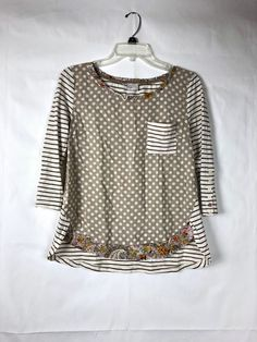 2f5f9932b71e Anthropologie 9-H15 STCL Postmark Women s Polka Dot Stripe Top Size S Shirt  65