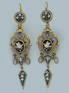 A PAIR OF ANTIQUE MICRO-MOSAIC EARRINGS   Each of vase shape, set with a polychrome micro-mosaic decor of flowers and a central bird perched on a twig, supporting three similarly-set drops to a circular surmount, circa 1870