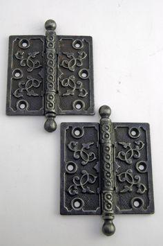 """Antique Victorian Butt Hinge 4"""" x 4"""" Ball Finial Cast Iron AH11161403"""
