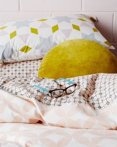 A stylish quilt cover in an easy-to-live-with colour palette and design. A retro spot adorns one side while a blush circle cut out print features on the reverse Tribal Bedding, Printed Cushions, Quilt Cover, Bean Bag Chair, Bed Pillows, Pillow Cases, Quilts, Cool Stuff, Furniture