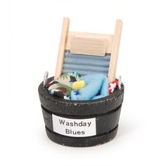 Miniature Laundry Tub 1/12 Scale Dollhouse Supply Wash Board Clothes Soap