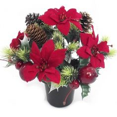 Artificial Christmas Poinsettia Bush in a Black Plastic Pot