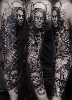95 Awesome Examples of Full Sleeve Tattoo Ideas Dvrkness Tattoo Tattoos, Demon tattoo S Tattoo, Tattoos Masculinas, Satanic Tattoos, Tattoo Bunt, Skull Sleeve Tattoos, Bild Tattoos, Best Sleeve Tattoos, Sleeve Tattoos For Women, Tattoo Sleeve Designs