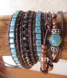 leather wrap beaded bracelet knottted por OrnamentationbyMary