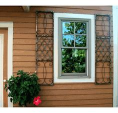 Wrought Iron Exterior Window Shutters Metal Wall Art