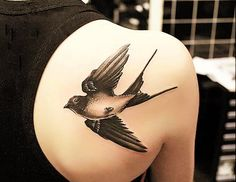 Shoulder Swallow Tattoo - A swallow Tattoo is one of birds tattoos which has rich meanings. People love swallow tattoos for both their traditional meanings and cute designs. Of British origin in the early days of sailing, swallow tattoos were once popular among sailors to show off their sailing experience, and express their hope to come home safely. When sailors saw a swallow they knew that land was near.